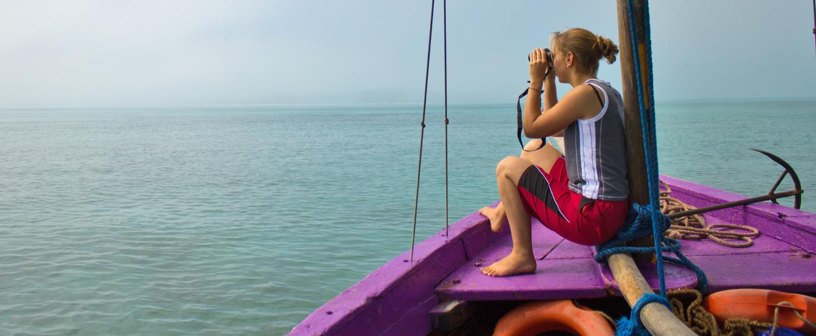 Disaster Relief volunteer looks out at the Indian Ocean in Mozambique